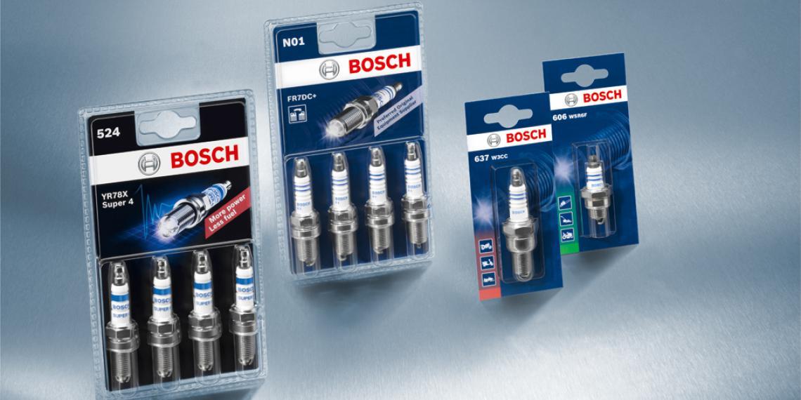 Свечи Bosch в упаковке с обновленным дизайном